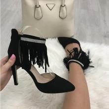 Pantofi dama cu toc si franjuri