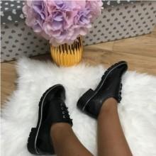 Pantofi dama negri oxford luciosi