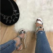 Sandale dama argintii cu platforma