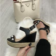 Sandale dama negre cu platforma S133