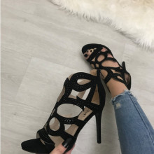 Sandale dama negre cu toc S127