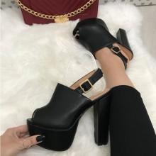 Sandale dama negre cu toc si platforma S135