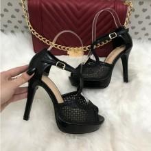 Sandale dama negre cu toc si platforma S206