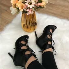 Sandale dama negre gladiator cu toc