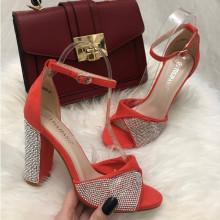 Sandale dama portocalii cu toc S76