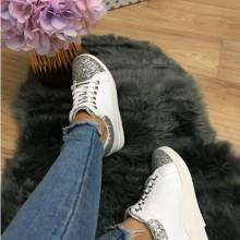 Adidasi albi cu argintiu cu platforma ascunsa