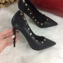 Pantofi dama negri stiletto cu tinte si toc