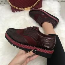 Pantofi dama rosii grena cu platforma oxford