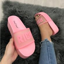 Papuci dama roz cu platforma S31