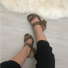 Sandale dama animal print cu toc si platforma S91