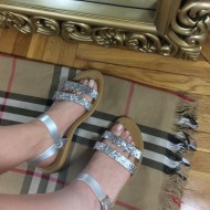 Sandale dama argintii cu sclipici