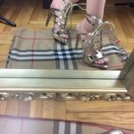 Sandale dama aurii cu toc
