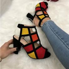 Sandale dama negre cu rosu si galben S107
