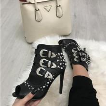 Sandale dama negre cu toc S150