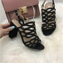 Sandale dama negre cu toc S218
