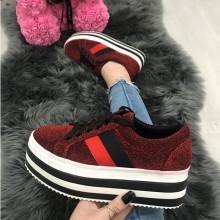 Adidasi dama rosii cu platforma