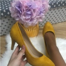 Pantofi dama galbeni cu toc mic