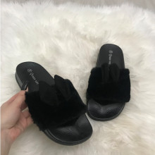 Papuci dama negri cu blana