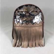 Rucsac maro bronz cu paiete si franjuri