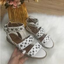 Sandale dama albe cu tinte