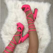 Sandale dama gladiator roz cu toc S33