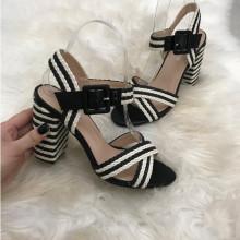 Sandale dama negre cu alb cu toc S85
