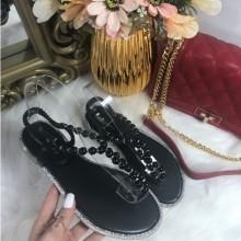 Sandale dama negre cu perlute