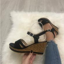 Sandale dama negre cu platforma S126