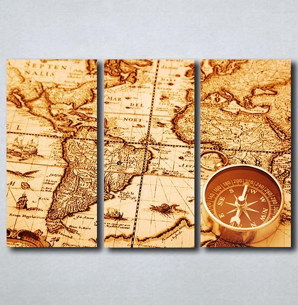 Slike Na Platnu Karta Sveta I Kompas Nina163 3
