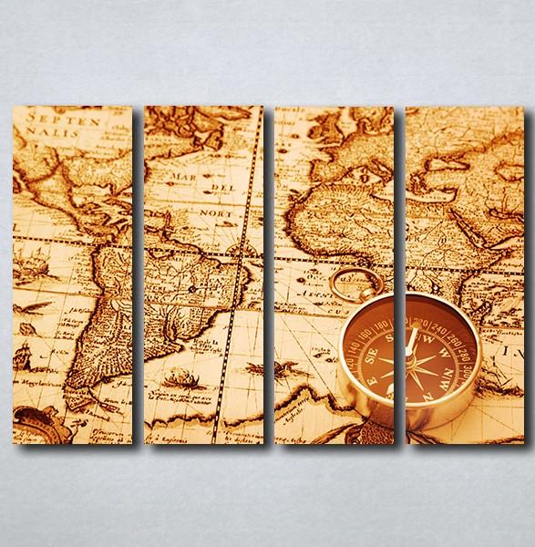 Slike Na Platnu Karta Sveta I Kompas Nina163 4