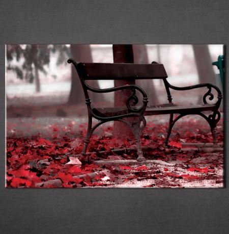 Slika na platnu Klupa u parku i crveno jesenje lišće Nina3012_ P