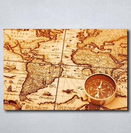 Slike Na Platnu Karta Sveta I Kompas Nina163 P