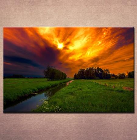 Slika na platnu Reka i zalazak sunca Nina3009 _P