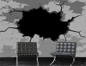 Foto tapeta Crna rupa na zidu Tapet154