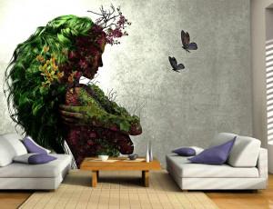 Foto tapeta Devojka apstrakcija drvo Tapet110