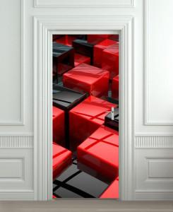 Nalepnica za vrata Crveno crne kocke 6168