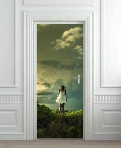 Nalepnica za vrata Devojka u beloj haljini 6119