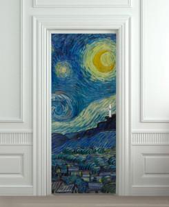 Nalepnica za vrata Starry Night Vincent Van Gogh 6098