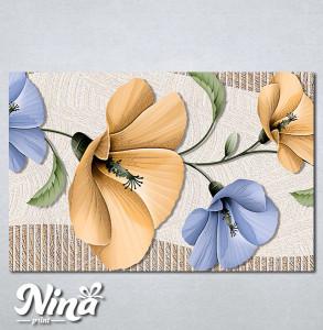 Slike na platnu Bež i plavi apstraktni cvet Nina293_P