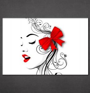 Slike na platnu crvene usne i mašna Nina3091_P