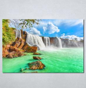 Slike na platnu tirkizni vodopad Nina 140_P