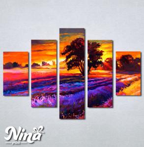 Slike na platnu Zalazak sunca i sarena poljana Nina239_5