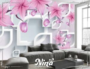 Foto tapet 3d tapet roze cvet Tapet201