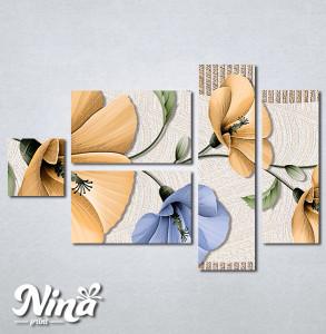Slike na platnu Bež i plavi apstraktni cvetovi Nina293_5