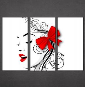 Slike na platnu crvene usne i mašna Nina3091_3
