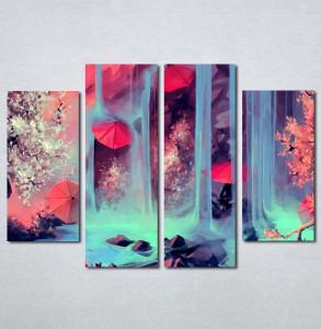 Slike na platnu Crveni kišobrani i vodopad Nina204_4