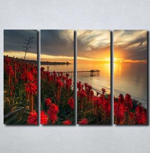 Slike na platnu Zalazak sunca i crveni cvet Nina179_4