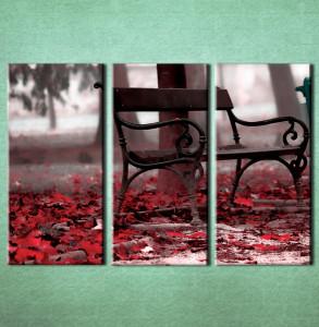 Slika na platnu Klupa u parku i crveno jesenje lišće Nina3012_3