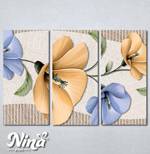 Slike na platnu Bež i plavi apstraktni cvet Nina293_3