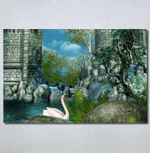 Slike na platnu Zamak i labud Nina30257_P